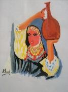 tableau personnages cruche eau femme maroc : Cruche d'eau