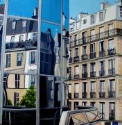 tableau architecture toit paris reflets rue : Chatelet les Halles