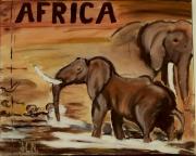 tableau animaux elephant afrique animaux paysage : ELEPHANTS by SLN