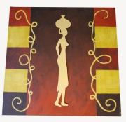 tableau personnages afrique or courbes formes bois : La Femme d'or