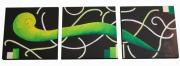 tableau abstrait vert anis chocolat noir courbes tryptique : Les rubans d'intérieur