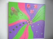 tableau violet rose vert collage : Framboise et pistache...