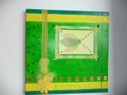 tableau vert jaune plume perles : Printemps...