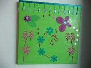 tableau vert papillons rose turquoise : Caraïbes...
