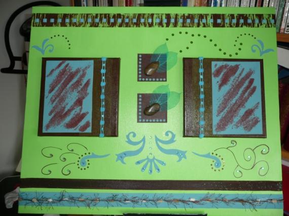 TABLEAU PEINTURE vert marron turquoise colume Acrylique  - Alexandre...