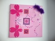 tableau rose papillons plume volume : Rose bonbon...