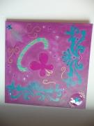 tableau violet turquoise etoiles collage : Bouquet de violettes...