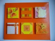 tableau orange jaune collage volume : Soleil d'été...