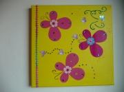 tableau jaune papillons rose volume : Envol de papillons...