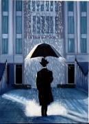 tableau personnages tableau toile homme parapluie silhouette noire building moderne : Le parapluie
