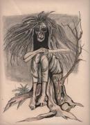 dessin personnages sorciere arbre : Sorcière