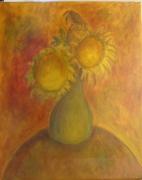 tableau nature morte tournesol huile ocre provencal : 3 Tournesols et un vase