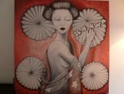 tableau personnages japonaise ombrelles asiatique estampe : japonaise aux ombrelles