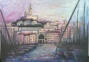 tableau villes marseille vieux port peinture bonne mere : Marseille de la criée à la Bonne mère