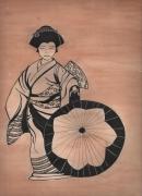 dessin personnages geisha estampe encre de chine costume : Japonaise et son ombrelle