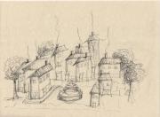 dessin villes village fontaine dessin esquisse : le village et la fontaine