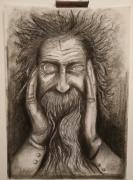 dessin personnages vieil homme sourire contraste lumiere : Vieillard souriant