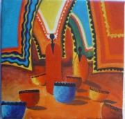 tableau scene de genre africain couleur voyage scene : Couleurs africaines