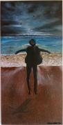 tableau personnages homme chapeau mer agitee ciel orageux peinture moderne : Bouffée d'air