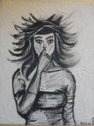 tableau personnages femme bande dessinee peinture original : Femme Black&white