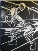 tableau personnages homme noir bande dessinee pistolet sin city : Man in black