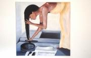 tableau personnages tableau femme metiss cheveux longs bains bleus estampe japonaise : La toilette