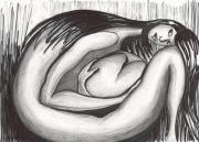 dessin personnages femme coeur foetus noir et blanc : Femme et son coeur