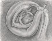 dessin personnages femme foetus coeur brise : Femme consolant son coeur brisé