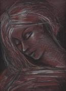 dessin personnages femme cheveux belle pastel : Femme pensive