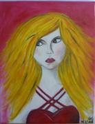tableau personnages blonde portrait peinture robe : Jolie Blonde