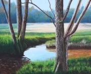 tableau paysages ruisseau millevaches campagne arbres : ruisseau en Creuse