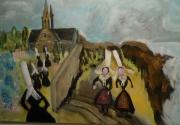 tableau scene de genre : bretonnes à la messe
