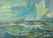 tableau marine voilier tempete : voilier dans un grain