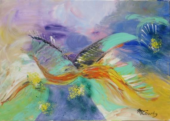TABLEAU PEINTURE oiseau ciel Abstrait Acrylique  - vol d oiseau
