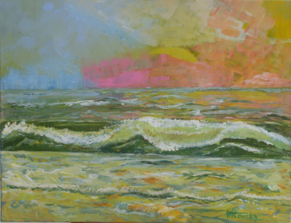TABLEAU PEINTURE mer soleil vague reflets Marine Acrylique  - sérénité marine