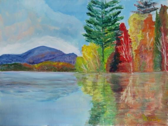 TABLEAU PEINTURE reflets automne Paysages Peinture a l'huile  - reflets d'automne