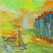 tableau marine soir port lumiere : soir sur le port