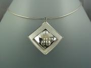 bijoux abstrait argent collier perle de culture : Collier argent perle de culture