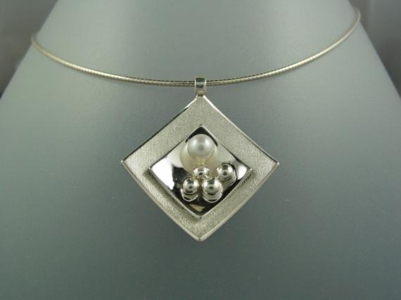 BIJOUX argent collier perle de culture Abstrait  - Collier argent perle de culture