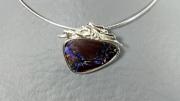 bijoux opale argent collier : Collier argent opale boulder