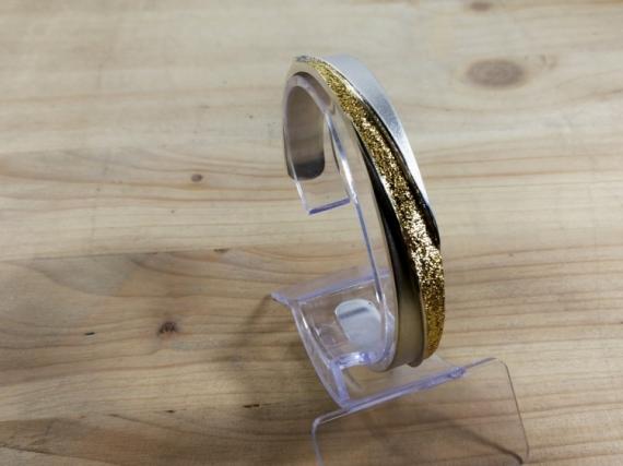 BIJOUX bracelet argent keum boo  - Bracelet argent 1er titre et or diamanté