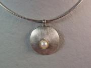 bijoux autres perle argent : Collier argent brossé et perle de culture
