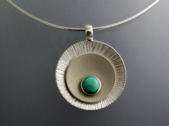 BIJOUX collier argent massif turquoise Abstrait  - Collier argent turquoise