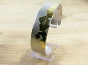 bijoux autres bracelet manchette argent keum boo : Bracelet argent mat et motif carrés en or