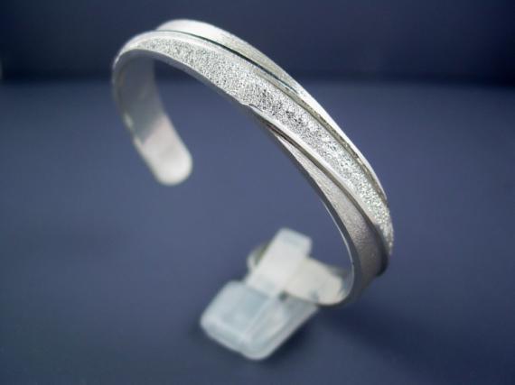 BIJOUX bracelet mat brillant argent massif Abstrait  - Bracelet en argent mat et brillant
