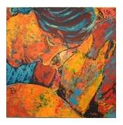 tableau personnages couple complicite amoureux orange : complicité