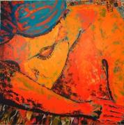 tableau personnages femme nue endormie orange : profond sommeil