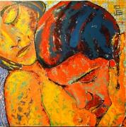tableau personnages couple etreinte nu orange : étreinte