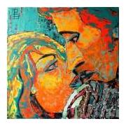 tableau personnages regard passion couple orange : discussion sur l'oreiller