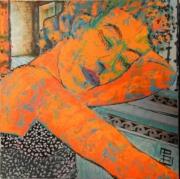 tableau personnages cubaine endormie attente orange : longue attente
